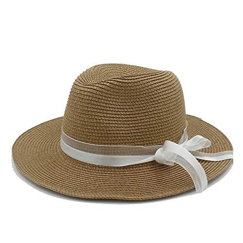 SSHZJUS Ocio Playa Sombrero for el Sol Sombrero de Paja Dama Sombrero de Panamá Lado Ancho Verano Hawai Moda Transpirable Refrescante Sombrero for el Sol Arco de Cinta