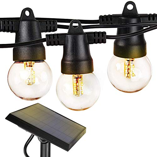 Brightech Ambience Pro - Waterproof Solar LED Outdoor String Lights – 1W Retro Edison Globe Bulbs - 27 Ft Bistro Lights Create Cafe Ambience in Your Yard, Pergola - Warm White