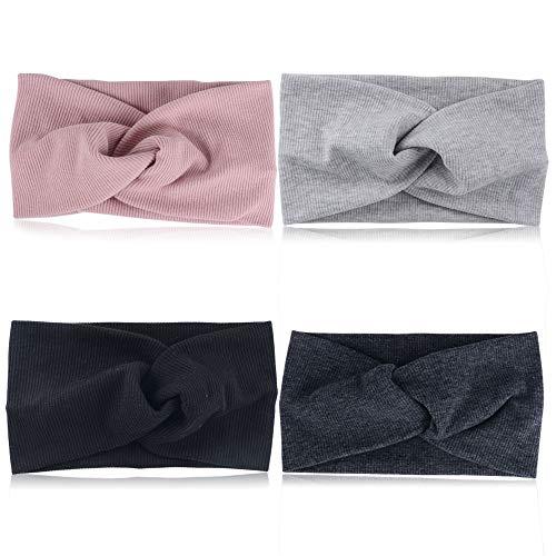 4pcs Banda de Pelo Mujer Venda de Pelo Elástica Turbantes Mujer 4 Colores Variados Cinta para Pelo de Cabeza de Algodón Diademas de Mujer de Nudo (Negro + gris oscuro+ gris claro + rosa)