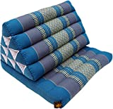 Guru-Shop Thaikissen, Dreieckskissen, Kapok, Tagesbett mit 1 Auflage - Türkis/grau, 30x50x75 cm, Asiatisches Sitzkissen, Liegematte, Thaimatte