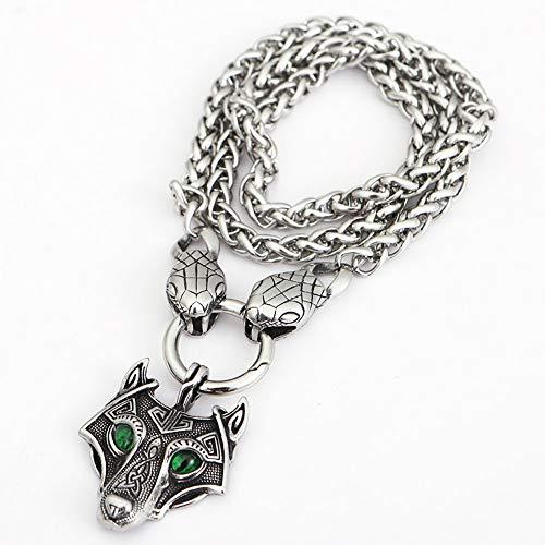 YANGFJcor Retro Acero Inoxidable nórdico Vikingo mitología Odin Cabeza de Lobo Colgante Collar Cadena giratoria con Cabeza de Serpiente Collar joyería para Hombre,70cm