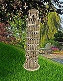 ABC Home Garden Gartendeko Turm von Pisa Dekofigur Innen-& Außenbereich Witterungsbeständig, hell-braun