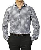 ラルディーニ LARDINI セミワイドカラー シャツ テクノ ジャージー チェック柄 TECNO FABRICS JSMOTOKI【ブラウン】 S,ブラウン