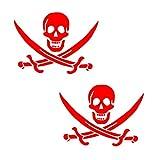Auto Vynamics - PPFS-JR07-6-GRED - Gloss Red Vinyl 'Jolly Roger' Pirate Flag Symbol Decal - John 'Calico Jack' Rackham (Rackam / Rackum) Skull & Crossed Swords Design - Matching Pair - (2) Piece Kit - 6-by-4.5-inches