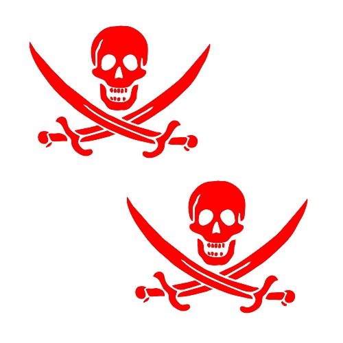 "Auto Vynamics - PPFS-JR07-6-GRED - Gloss Red Vinyl ""Jolly Roger"" Pirate Flag Symbol Decal - John ""Calico Jack"" Rackham (Rackam / Rackum) Skull & Crossed Swords Design - Matching Pair - (2) Piece Kit - 6-by-4.5-inches"