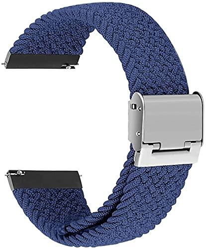 Niboow Correa Trenzada Compatible con Garmin Watch 20mm, Elástica Correa Deportiva Trenzada Compatible con Garmin Vivoactive 3/Vivomove 3/Luxe/Style/HR Vivoactive Forerunner 245/645 Music-Blue