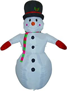 GOOSH 8 Foot Christmas Inflatable Smiling Snowman with Top Hat and Red & Green Scarf LED Lights Indoor Outdoor Yard Lawn Decoration - Cute Fun Jolly Xmas Holiday Blow Up Party Display,christmas decora