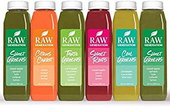 Raw Generation 3-Day Skinny Juice Cleanse for Fast Weight Loss, 100% Raw Plant-Based Detoxifying Cleanse, Healthy Fruits, Vegetables, and Probiotics for Gut Health, 6 Delicious Flavors (18 Count)