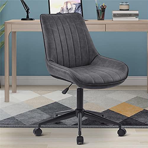 Bürostuhl, Barhocker 360° Barstuhl aus Kunstleder, PU-Ergonomischer Arbeitsstuhl, höhenverstellbar ohne Armlehnen, verdicktes Sitzkissen, Schreibtischstuhl für Büro/Home-Office (grau)