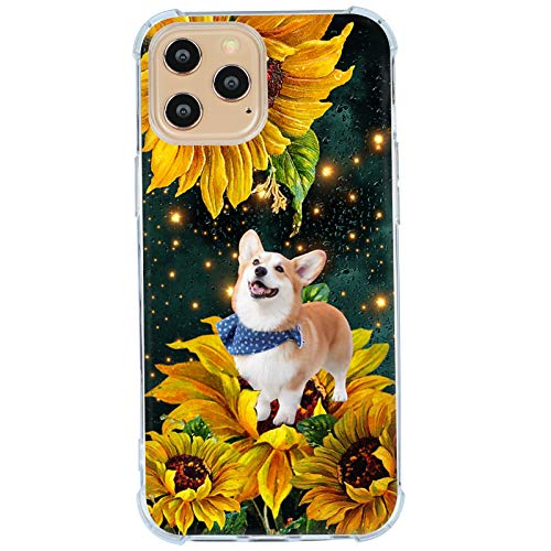 iPhone 12 Pro Max Case,Corgi in The Light Sunflower World Cute Case for iPhone 12 Pro Max for Women Girls Men Boys,Cool Kawaii Dog Pets Animal Print Gifts Case for Apple iPhone,Clear Soft TPU Case