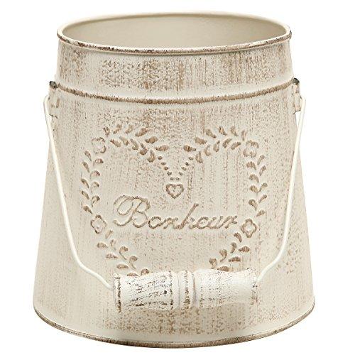 MyGift French Country Vintage Style Rustic Metal Garden Decor Bucket/Centerpiece Vase/Flower Holder