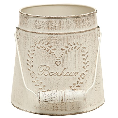 MyGift French Country Vintage Style Rustic Metal Garden Decor Bucket / Centerpiece Vase / Flower Holder