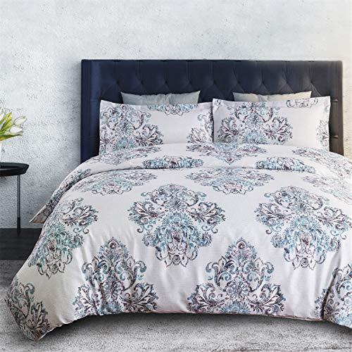 Bedsure Damask Duvet Cover Set with Zipper Bedding Set Print Grey Design,Twin (68x90 inches)-2 Pieces (1 Duvet Cover + 1 Pillow Sham)-Ultra Soft Microfiber