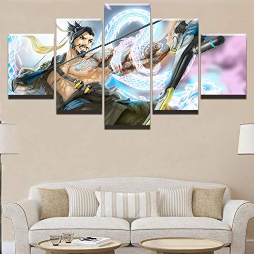 Apurpler Canvas muurschildering animatie spel karakter - modulaire 5 stuks non-woven afdrukken beeld kunst olie schilderij foto huisdecoratie draak en boogschutter 40x60cmx2 40x80cmx2 40x100cmx1(No frame) No Frame