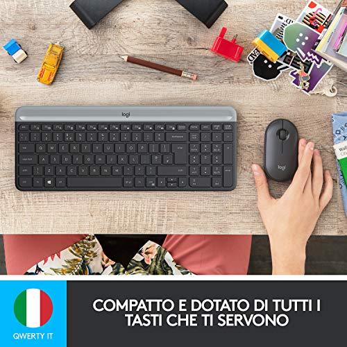 Logitech MK470 Kit Mouse e Tastiera Wireless per Windows, Ricevitore USB Unifying 2.4 GHz, Sottile, Compatto, Silenzioso, Batteria Lunga Durata, PC/Laptop, Layout Italiano QWERTY, Nero