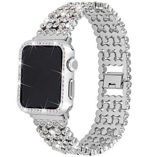 Rhinestones Bands with Diamond Face Cover for Women Men, Falandi Bling Stainless Steel Replacement...