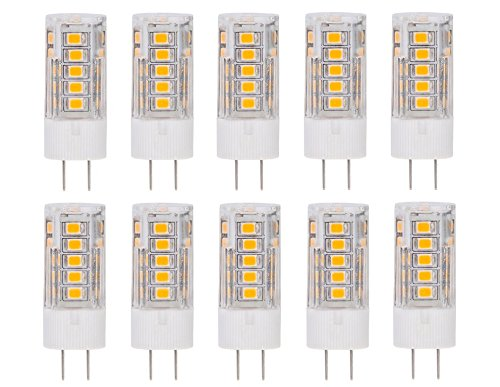 CBConcept 10-Pack, LED G4, 320 Lumens, 2.8 Watt (35W Equal), Warm White 3000K, 360° Beam Angle, Not Dimmable, Low Volt AC/DC 12 Volt, JC G4 Bi-Pin Base LED Halogen/Xenon/Incandescent Replacement Bulb