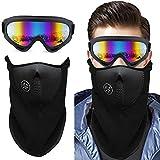 Gafas de Nieve a Prueba de Viento Pasamontañas Traje, HICOO Protección UV400 CE Gafas de Resistencia al Viento para Snowboard, Esquí, Motocicleta