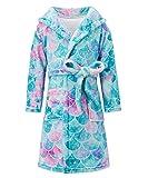 Lovekider - Albornoz con capucha para niñas, franela con bolsillos, suave albornoz de peluche, cómodo y cómodo, ropa de dormir para niños, niños de 4 a 12 años