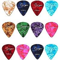 12-Pack Multi Color Guitar Picks Includes Thin, Medium, Heavy Felt Picks for Ukulele, Guitar, Bass by Luxars