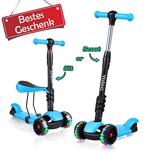 YOLEO 3-in-1 Kinder Roller Scooter mit Abnehmbarem Sitz, LED große Räder, Höheverstellbare Lenker für Kleinkinder Jungen Mädchen ab 2 Jahre (Blau)