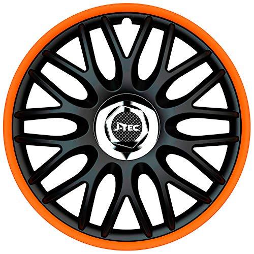 J-Tec J16519 Satz Radzierblenden Orden R 16-Zoll Schwarz/Orange + Chrom Ringe, inch