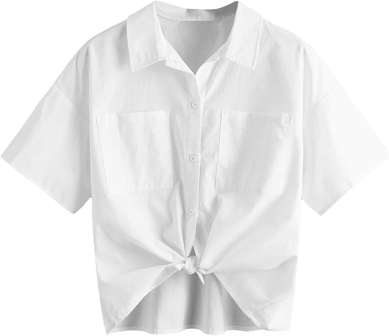 Milumia Women's Basic Button Down Collared Shirt Half Sleeve Office Work Blouse Top