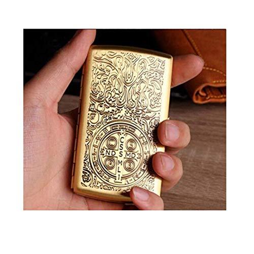 YINGGEXU Cigar Humidor. Zigaretten-Etui 12-Sticks, Portable einfach Retro Zigarettenschachtel kreatives Retro Kupfer, ist der for Raucher, Größe 8,96 * 5,42 * 1,9 cm, Gold, Anti-Druck