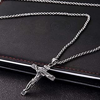 Jewelry Men Vintage Stainless Steel Cross Jesus Pendant Necklace(Flower basket chain-Silver) Chains (Color : Cross chain-S...