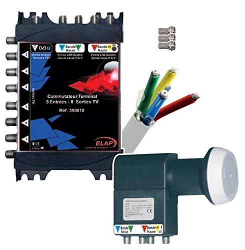 High-Tech 350050 Kit de Réception Satellite + Antenne TV TNT Multicolore