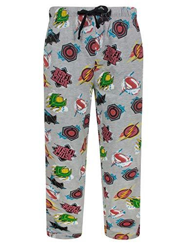 Pantalones de dormir para hombres de la Liga de la Justicia. Estos pantalones de pijama color gris vienen con los logos de la Liga de a Justicia y sus miembros: Superman, Batman, Flash, Aquaman y Cyborg. Con prácticos bolsillos y una cómoda pretina e...