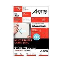エーワン ラベルシール(プリンター兼用) マット紙・ホワイト A4 ノーカット 73301 1冊(100シート) ×2セット
