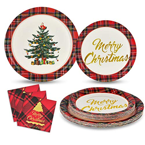 Christmas Tree Paper Plates and Napkins Merry Christmas Disposable Dinnerware Set with 50 Paper Plates 50 Dessert Plates 100 Napkins, Serves 50