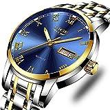 Mens Watches Stainless Steel Waterproof Analog Quartz Watch Men Simple Fashion Business Dress Wristwatch Blue Casual Date Calendar Wristwatch Clock