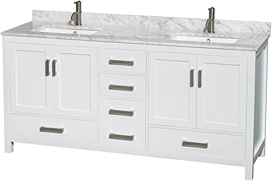 Sheffield 72 Inch Double Bathroom Vanity In White White Carrara Marble Countertop Undermount Square Sinks And No Mirror Amazon Com
