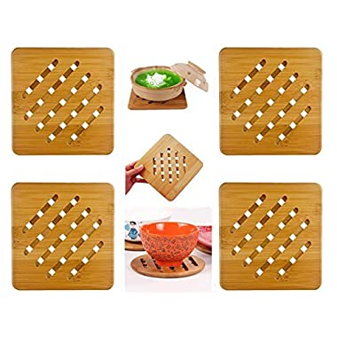 Weikai Bamboo Trivet Mat Set, Heavy Duty Hot Pot Holder Pads Coasters, Perfect for Modern Home Kitchen Decor, Set of 4, 7  Square