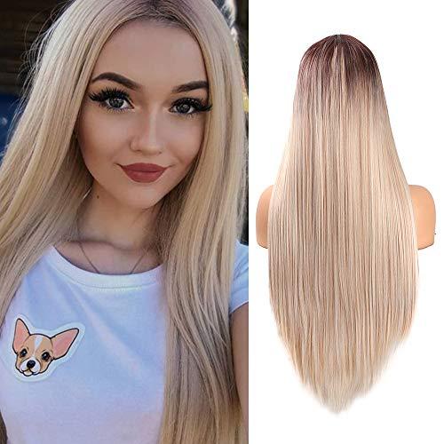 YMHPRIDE Ombre Rubia Pelucas rectas largas para las mujeres Aspecto natural Peluca sintética del pelo de la parte media Fibra resistente al calor 61 cm