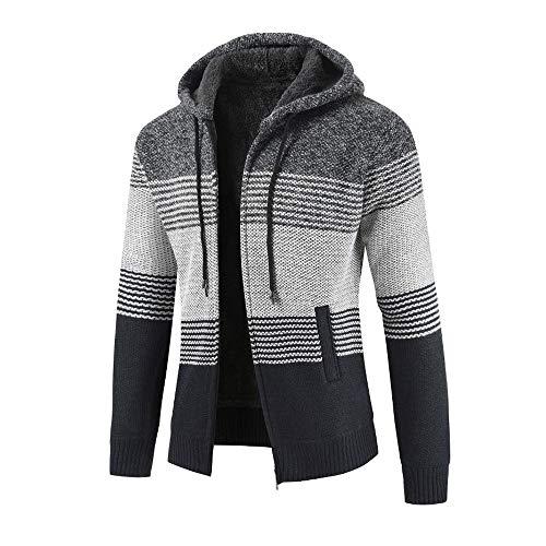 MERICAL Uomo Inverno Cardigan a Righe con Cappuccio Zipper Outwear Tops Maglione Camicia Cappotti(Grigioscuro,XL)