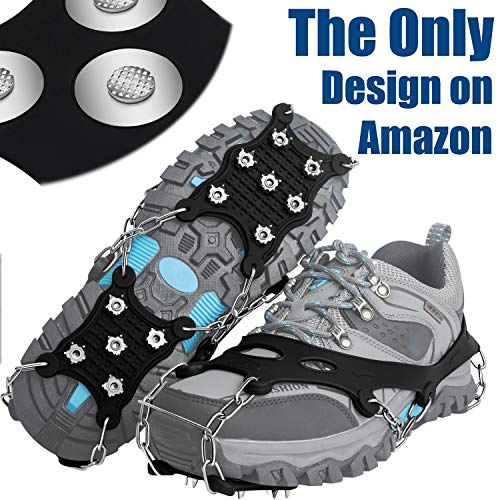 EnergeticSky Ice Cleats Spikes Crampons and Tread for Snow & Ice,The Only Innovative Design on Amazon,Attaches Over Shoes/Boots for Everyday Safety in Winter,Outdoor,Slippery Terrain. (X-Large)