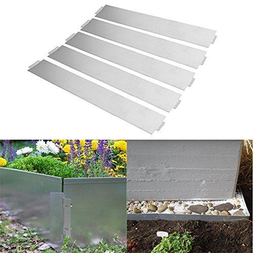 MCTECH Set di 5 bordure per prato in metallo zincato, recinzione per aiuole, 14cm di altezza, 100cm di lunghezza