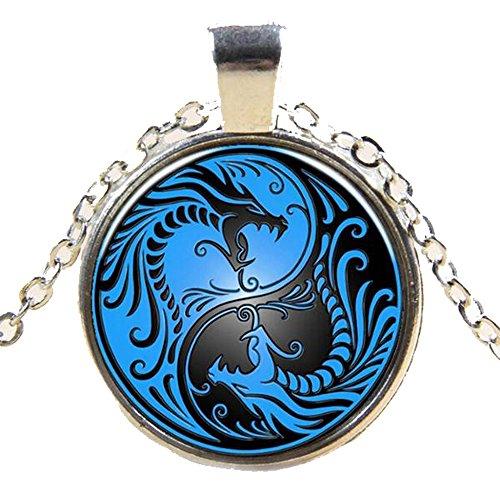 Pheromone Oil Black & Blue Yin Yang Dragon Cabochon Pendant Necklace