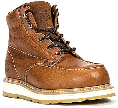 ROCKROOSTER Work Boots for Men, CompositeToe Waterproof Puncture Resistant Safety Working Shoes (AP828, 9-BRN)