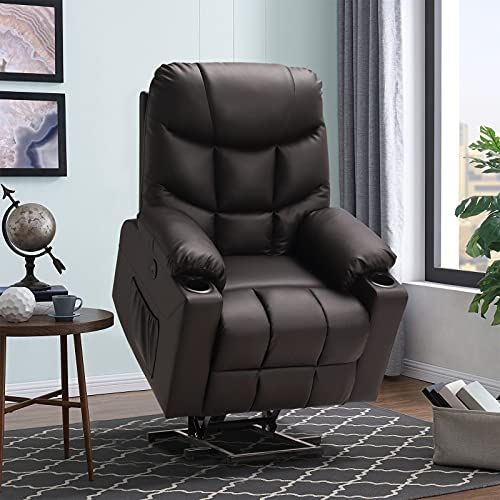 Electric Power Lift Recliner Chair for Elderly with Massage and Heat, Soft Fabric Motorized Recliner Sofa for Living Room with Remote Control, 2 Cup Holders, USB Ports and 2 Side Pockets (Brown)