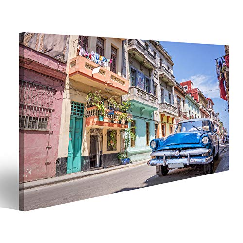 bilderfelix® Bild auf Leinwand Klassisches amerikanisches Oldtimer-Auto in Havanna, Kuba. Wandbild, Poster, Leinwandbild QPO