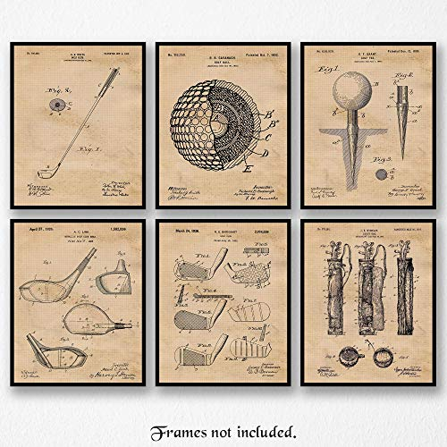 Vintage Golf Patent Poster Prints, Set of 6 (8x10) Unframed Photos, Great Wall Art Decor Gifts Under 20 for Home, Office, Shop, Garage, Man Cave, Studio, Student, Teacher, Coach, Sports & PGA Fan