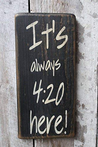 qidushop It's Always 420 Here Weed Spenderdekor 420 Cannabis Dekor Hippie Boho-Dekor Wohnheim Deko Party Room Decor Holz...