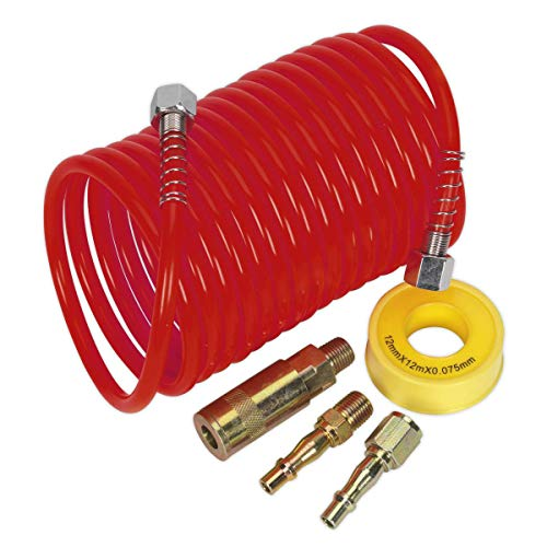 Sealey AHK03 Air Hose Kit Pu Coiled with Connectors, 5m x 5mm Ø,