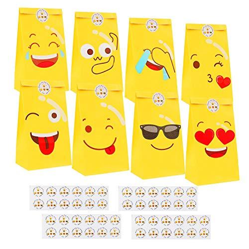 Herefun Sacchetti Regalo di Carta, 48 Pezzi Emoji Sacchetti di Carta Sacchetto Regalo con 48 Adesivi per Bambini, Sacchetti di Carta per Caramelle Compleanno, Bambini Festa Compleanno