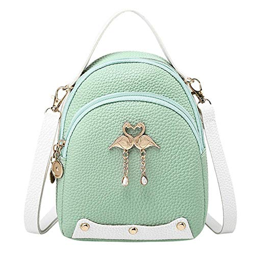 JNML Mini-rugzakken voor meisjes Kleine rugzak Dames DamesrugzakEffen kleur Leer Little Swan Rugzak Schoudertas, Groen