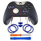 eXtremeRate Matte Chrome Blue Accent Rings Accessories for Xbox One Elite, Elite Series 2 Controller, Replacement Parts Profile Switch Buttons for Xbox One Elite Controller - Pack of 2